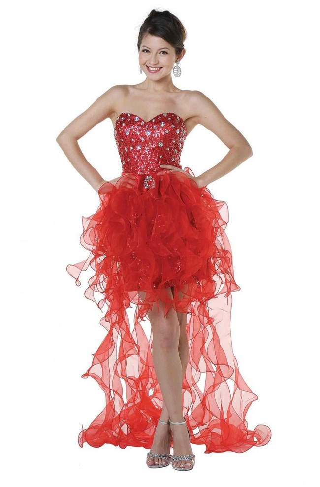 High Low Strapless Red Sequin Organza Ruffle Prom Dress