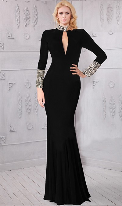 wide varieties reliable quality various design High Neck Collar Front Cutout Long Sleeve Black Jersey Beaded Evening Dress