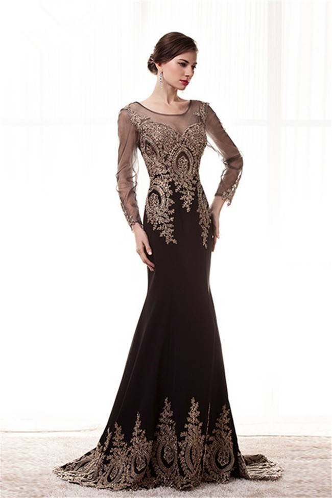 Illusion Neckline Long Sleeve Black Satin Gold Lace Occasion Prom Dress