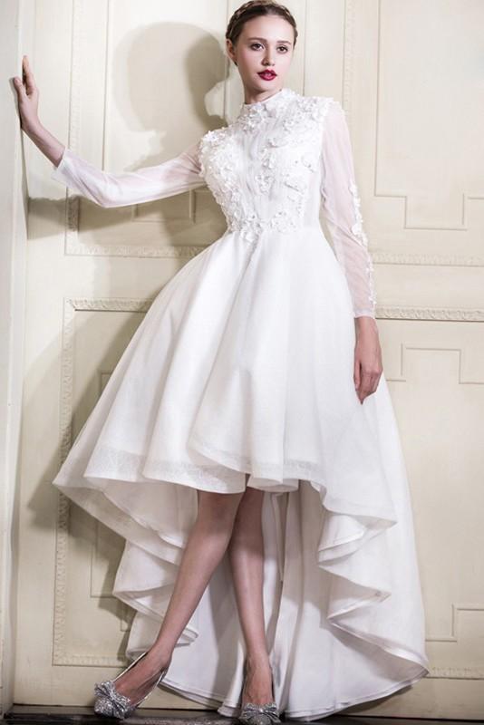 Informal High Neck Collar Long Sleeve Low Lace Tulle Garden Wedding Dress