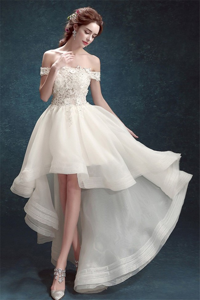 Informal Off The Shoulder High Low Lace Organza Outdoor Beach Wedding Dress