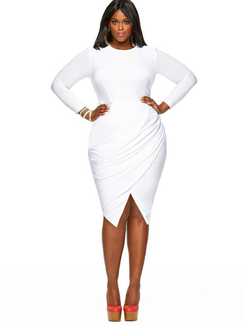 Jewel Neckline Short White Jersey Ruched Plus Size Women Dress With Sleeves
