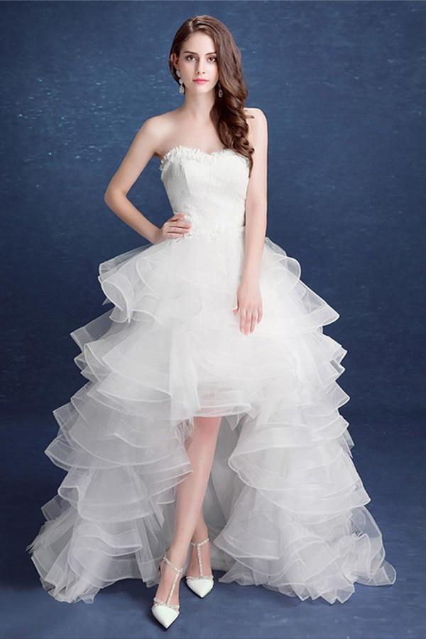 High Low Wedding Dresses.Lovely Strapless Organza Ruffle High Low Outdoor Wedding Dress Corset Back