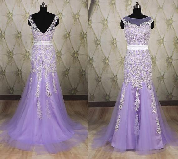 Mermaid Bateau Illusion Neckline V Back Lavender Tulle Ivory Lace Prom Dress