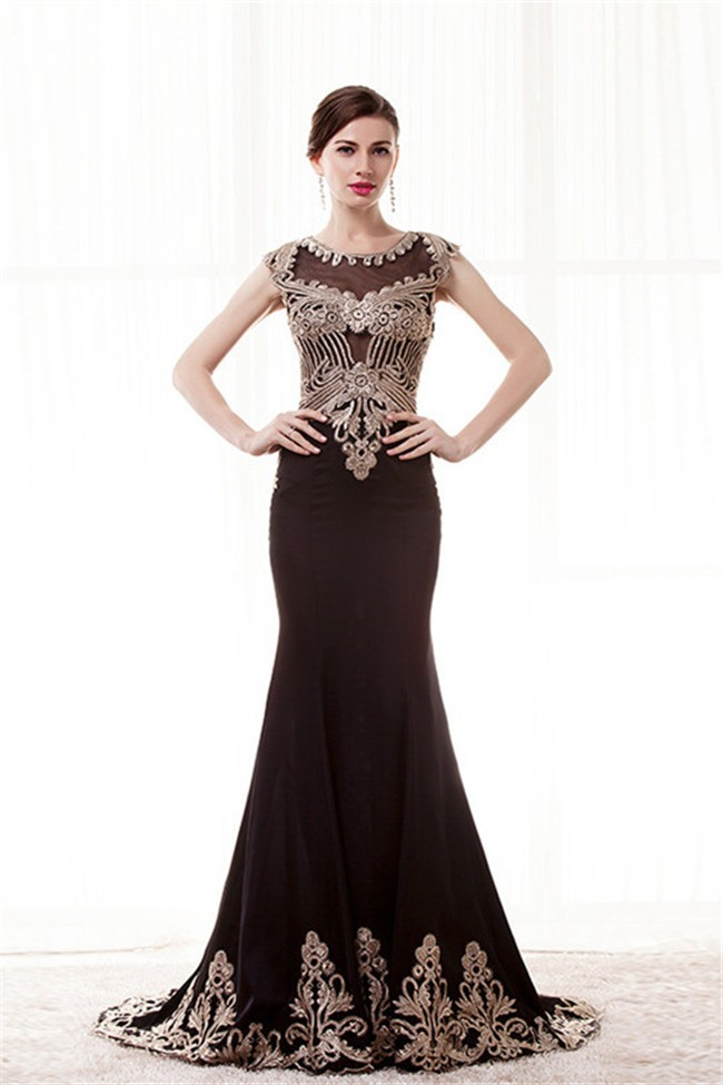 Mermaid Cap Sleeve Black Satin Gold Embroidery Evening Prom Dress
