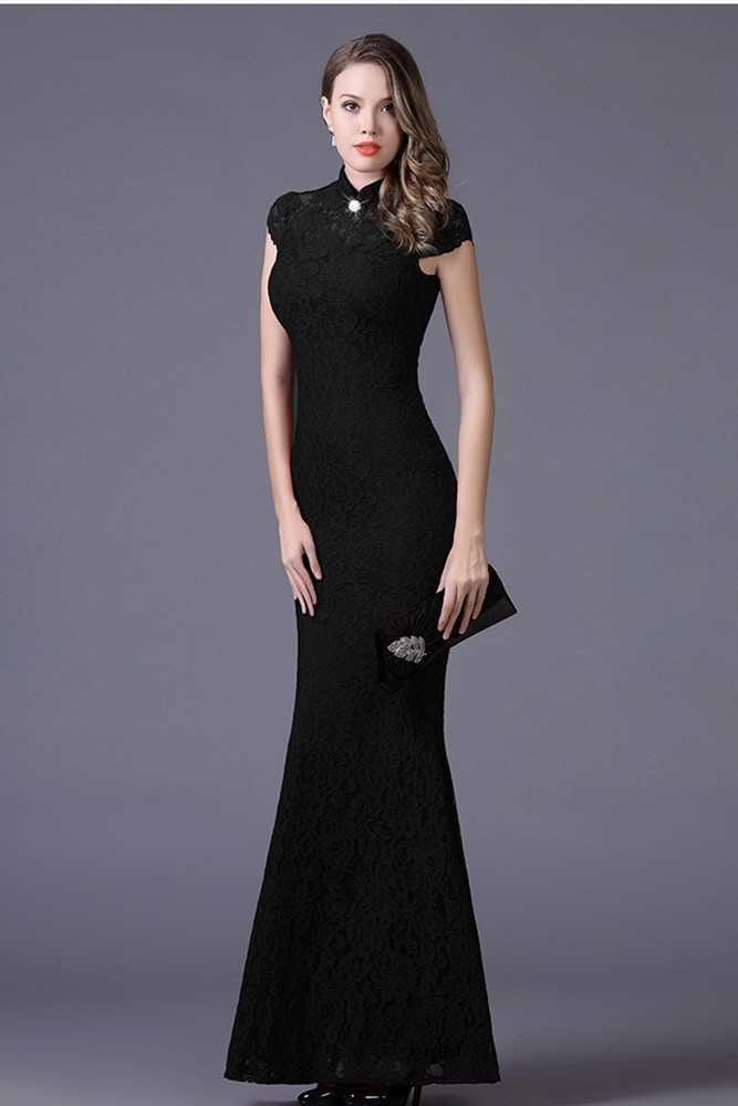 5399f8cf5c5 Mermaid High Neck Keyhole Back Cap Sleeve Black Lace Formal Evening Dress