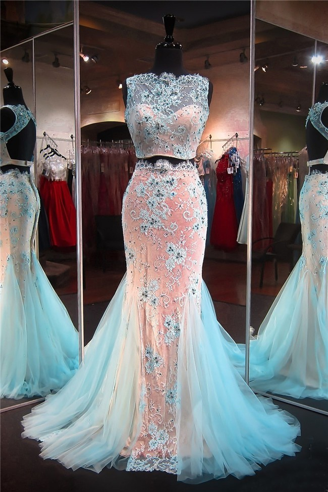 Mermaid High Neck Open Back Light Blue Tulle Lace Two
