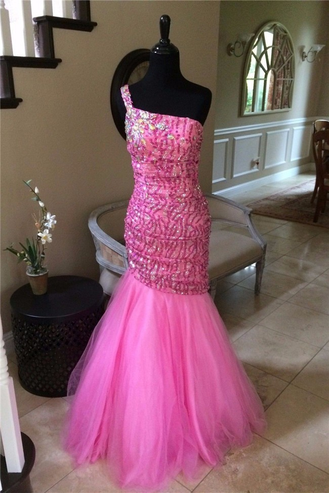 Mermaid One Shoulder Hot Pink Tulle Sequin Beaded Prom Dress