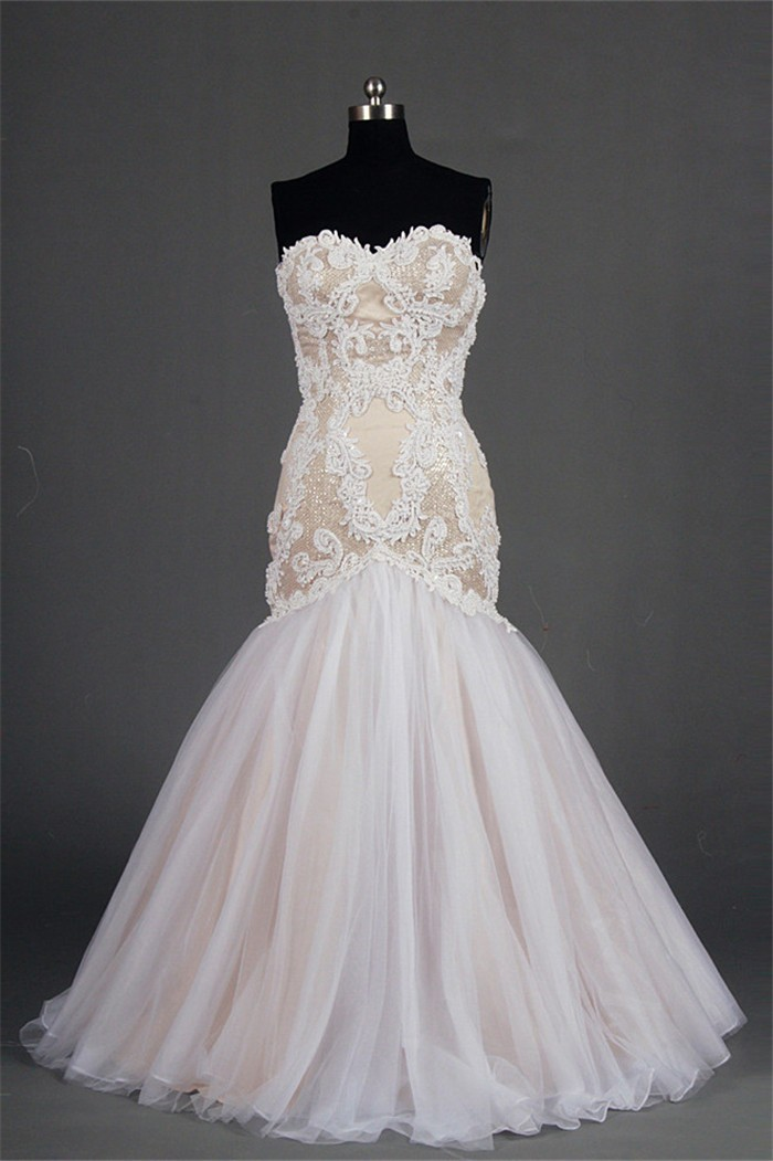 Mermaid Sweetheart Champagne Satin Tulle Lace Beaded Plus Size Wedding Dress