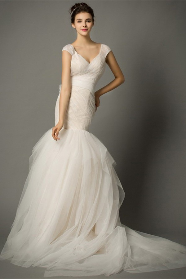 Fit And Flare Wedding Dress.Mermaid V Neck Cap Sleeve Ruched Tulle Fit And Flare Wedding Dress Bow Back