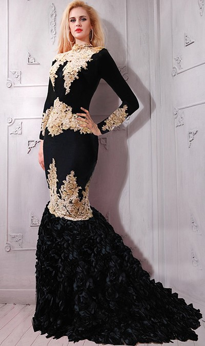 Modest High Neck Long Sleeve Black And Gold Lace Applique Evening Prom Dress