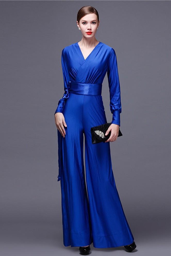 Blue Dressy Plus Jumpsuit: Modest V Neck Long Sleeve Royal Blue Jersey Formal