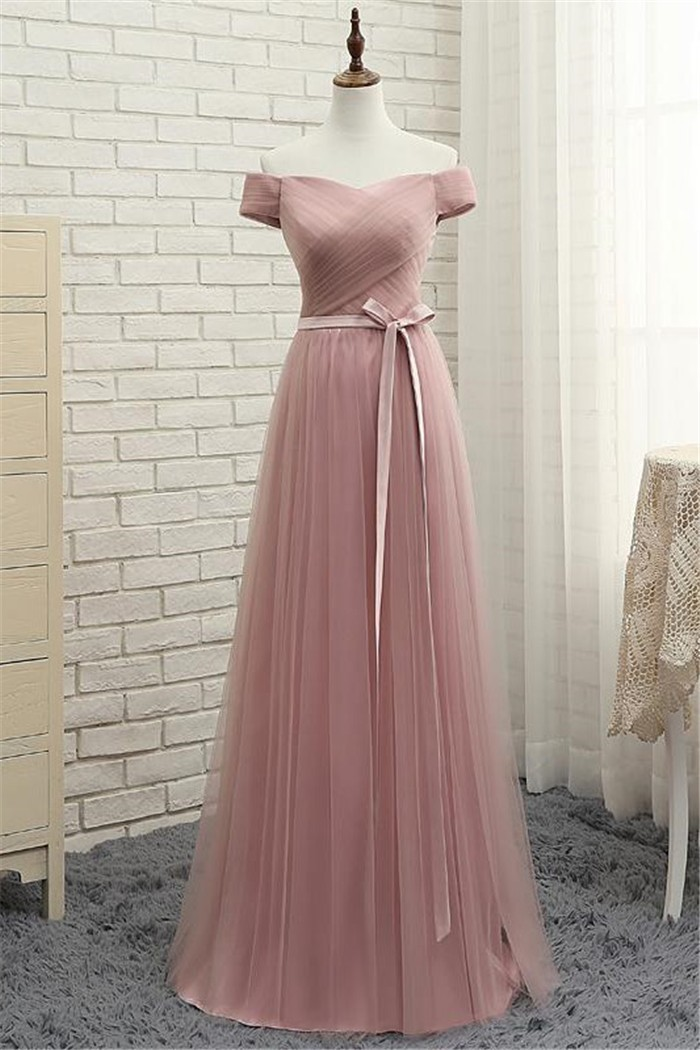 Off The Shoulder Long Dusty Rose Tulle Ruched Prom Dress