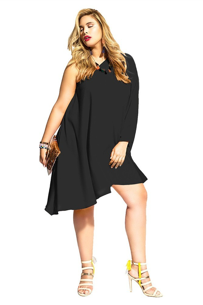 One Shoulder Sleeve Short Black Plus Size Women Dress
