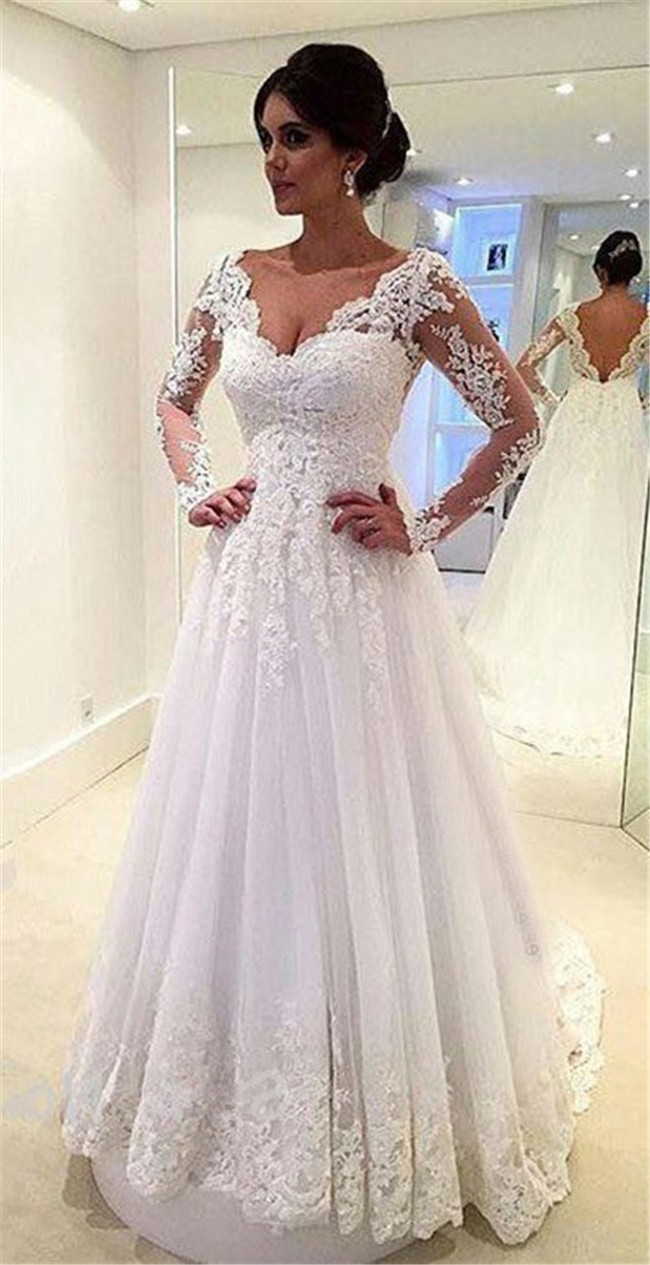 Lace Wedding Dress With Sleeves.Princess A Line Scalloped Neck Long Sleeve Tulle Lace Wedding Dress