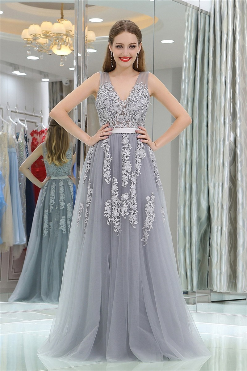 Princess A Line V Neck Long Silver Tulle Lace Prom Dress With Sash
