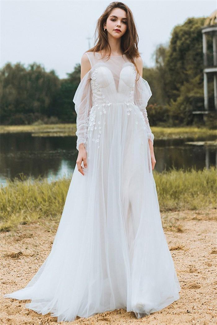 Wedding Dress Sleeves.Princess Sheer Neckline Back Tulle Flower Bohemian Wedding Dress With Sleeves
