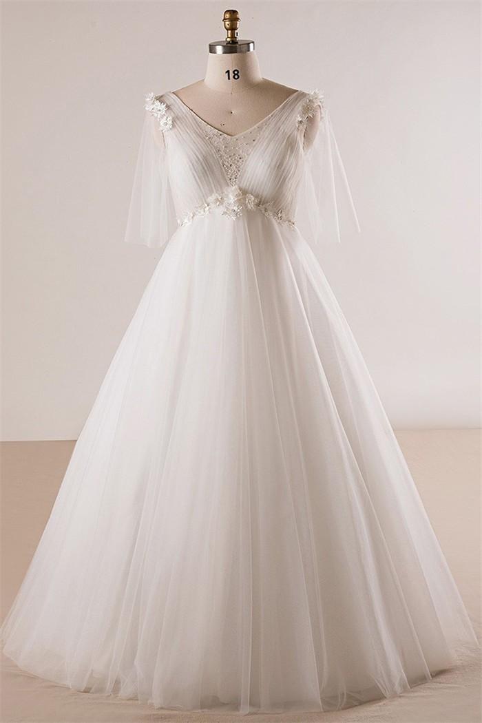 Princess V Neck Empire Waist Tulle Sleeve Plus Size Wedding Dress No ...