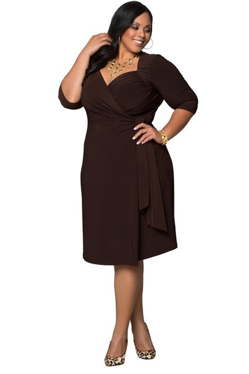 Queen Anne Neckline Short Brown Spandex Plus Size Women Dress With Sleeves