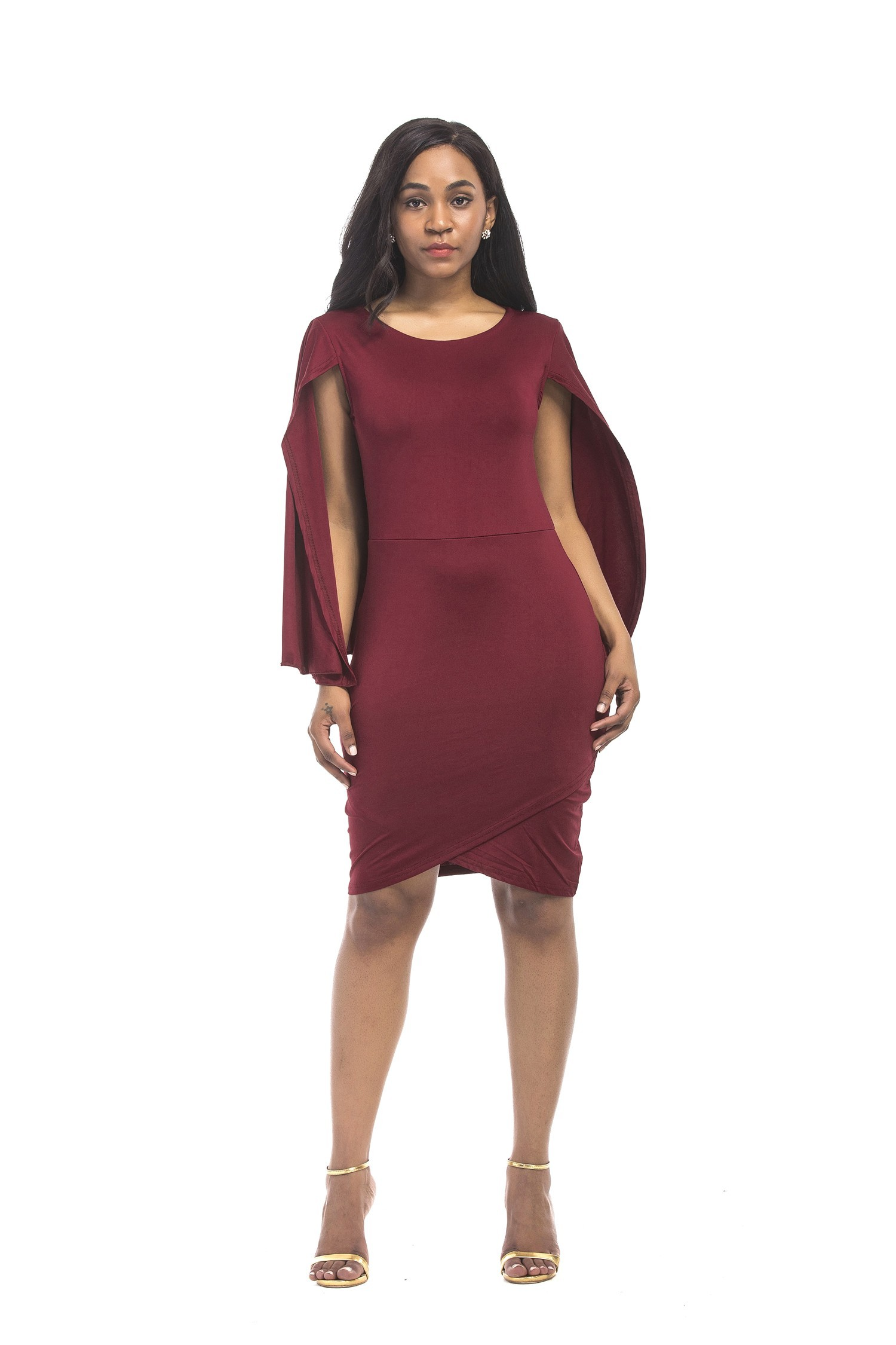 Scoop Neck Short Burgundy Jersey Plus Size Dress With Cape Sleeves
