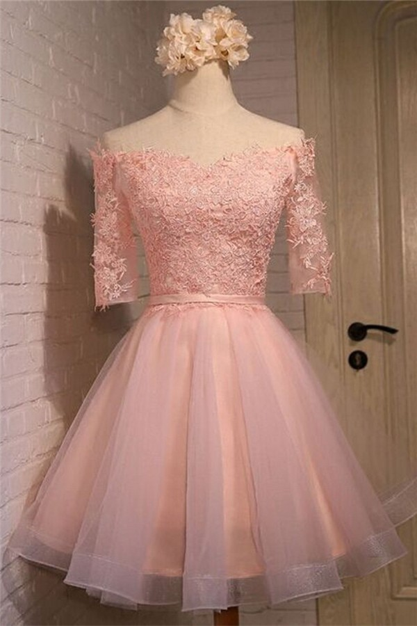 Sexy A Line Off The Shoulder Short Blush Pink Tulle Lace Prom Dress With Sleeves
