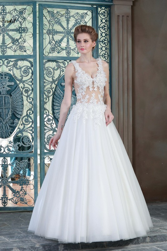 See Through Wedding Dresses.Sexy A Line V Neck See Through Tulle Lace Wedding Dress