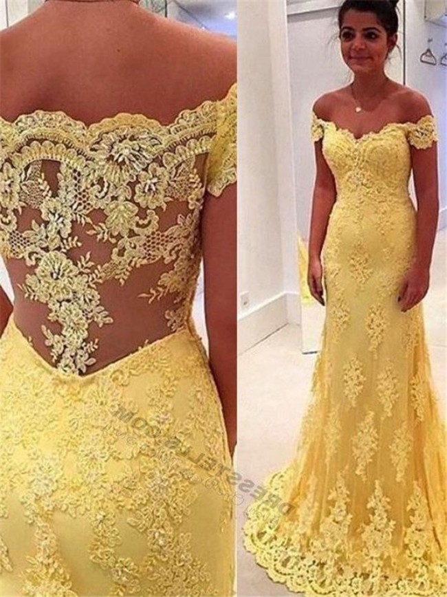 Sexy Off The Shoulder Yellow Lace Evening Prom Dress