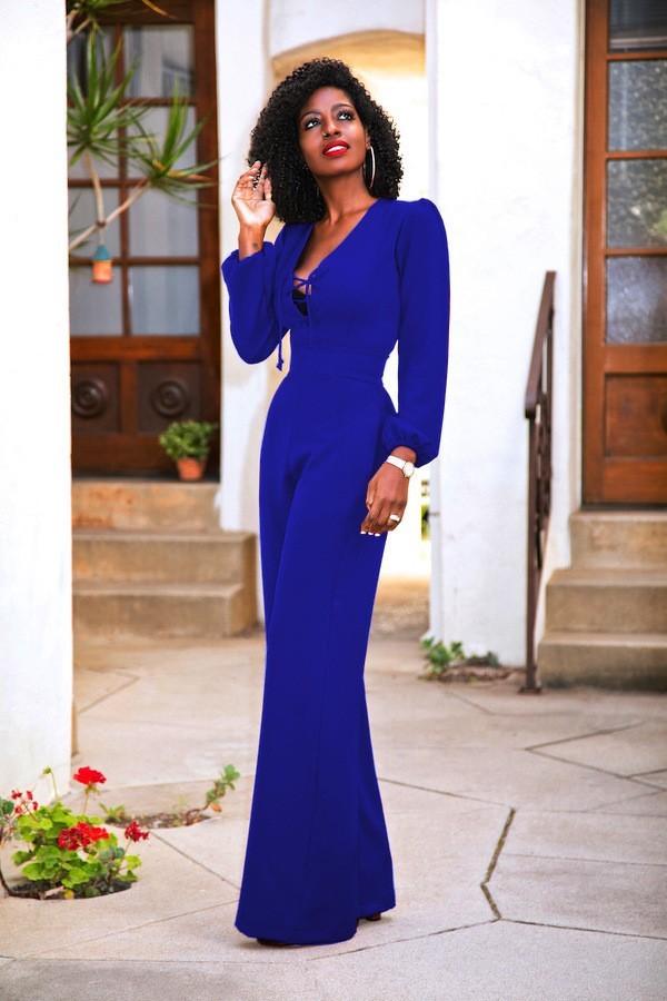 Blue Dressy Plus Jumpsuit: Sexy Tie V Neck Long Sleeve Royal Blue Wide Leg Women Jumpsuit