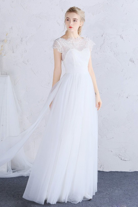 Destination Wedding Dresses.Sheath High Neck Open Back Cap Sleeve Lace Tulle Outdoor Destination Wedding Dress