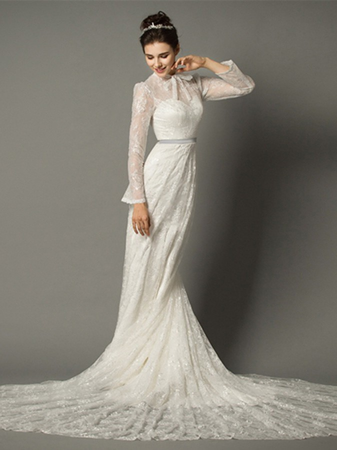 Sheath High Neck With Collar Long Sleeve Lace Wedding Dress Chapel Train