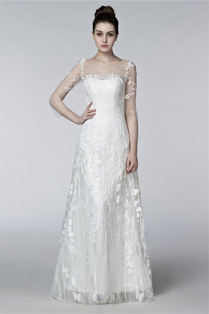wedding dress 3 4 sleeve sheath illusion neckline keyhole back 3 4 sleeve lace 9191