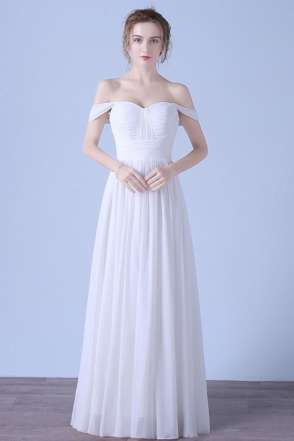 Sheath Off The Shoulder Chiffon Ruched Beach Bridesmaid Wedding Dress