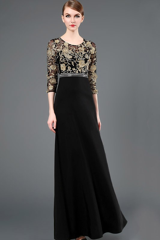 Sheath Scoop Neck Long Black Chiffon Gold Lace Evening Prom Dress With Three Quarter Sleeves