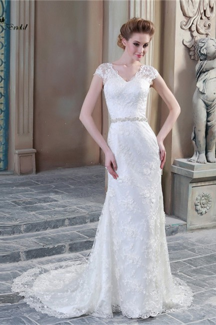 Sheath V Neck Cap Sleeve Sheer Back Lace Wedding Dress With Pearls Buttons