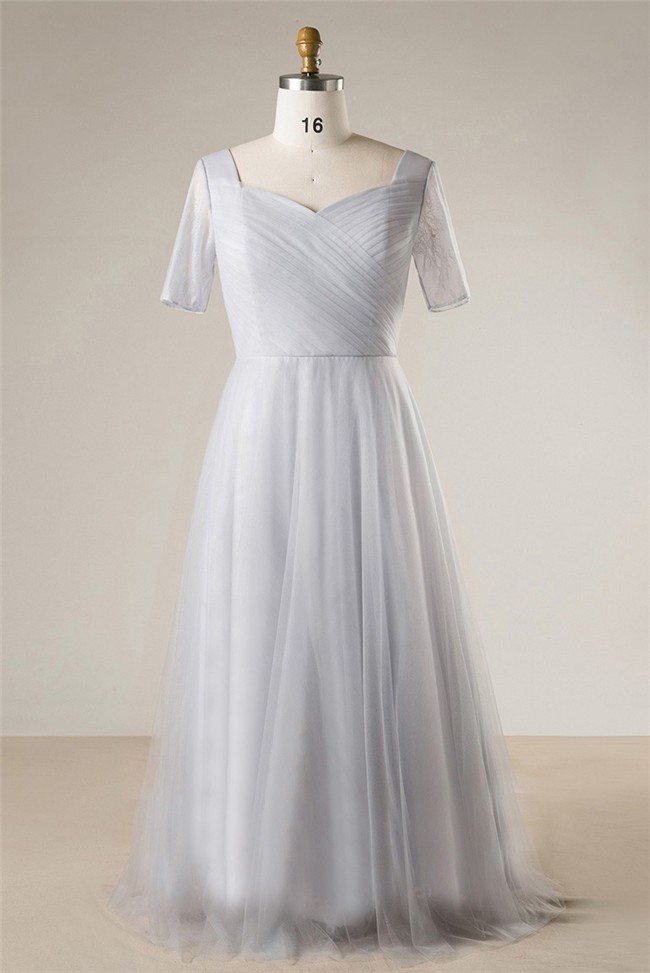 Simple A Line Sweetheart Silver Tulle Plus Size Bridesmaid Prom Dress With  Sleeves
