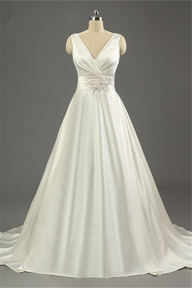 simple ivory wedding dresses simple a line v neck open back ivory satin ruched wedding 7487
