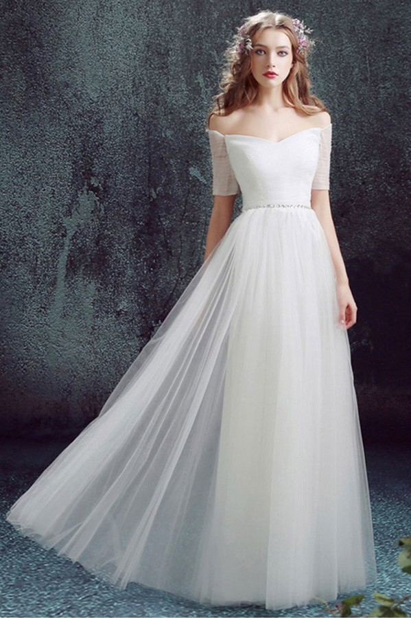 Simple Off The Shoulder Tulle Sleeve Wedding Dress Without Train