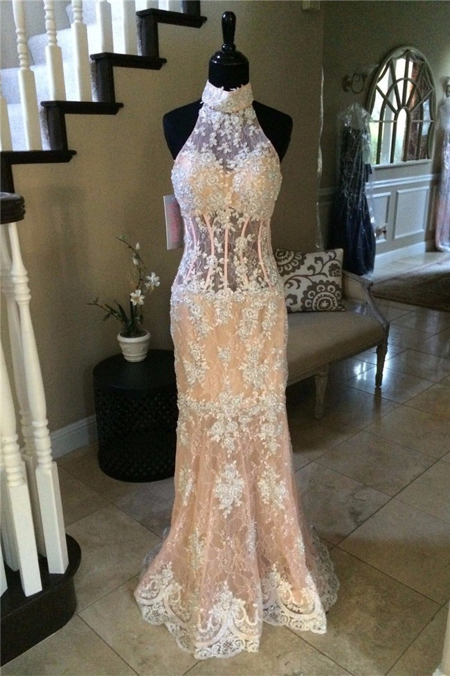 Slim Mermaid Halter Cut Out Back Champagne Lace Ivory Applique Prom Dress