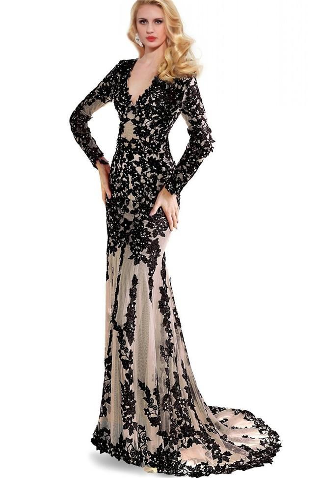 Slim Mermaid V Neck Cutout Back Long Sleeve Black Lace Prom Dress
