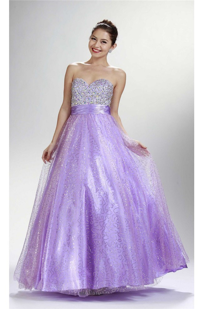 Sparkly A Line Sweetheart Long Lilac Tulle Sequined Prom Dress Lace Up Back