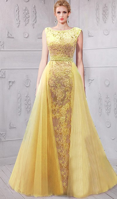 Stunning Bateau Neckline Low V Back Yellow Lace Evening Prom Dress Mesh Overlay Skirt