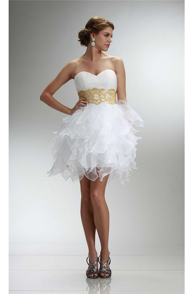 running shoes official cheapest price Stunning Strapless Short White Organza Ruffle Gold Beaded Cocktail Prom  Dress