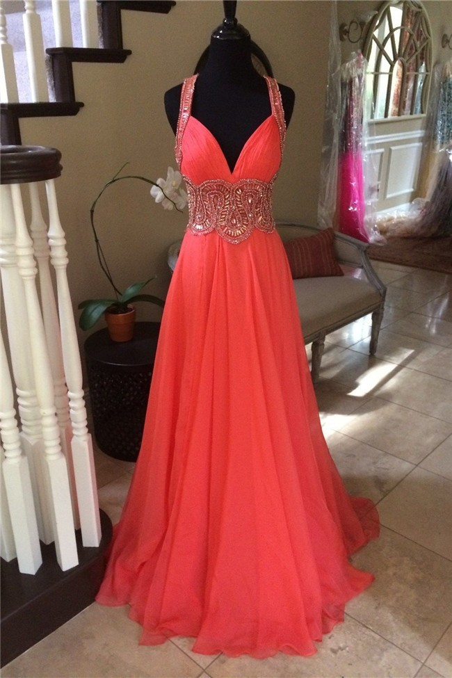 Stunning Sweetheart Long Coral Chiffon Beaded Prom Dress