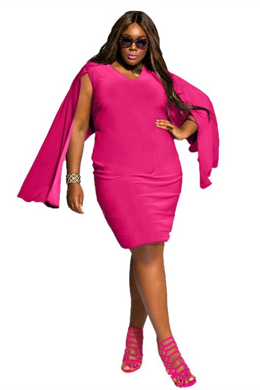 Summer V Neck Short Fuschia Plus Size Women Dress With Cape Sleeves