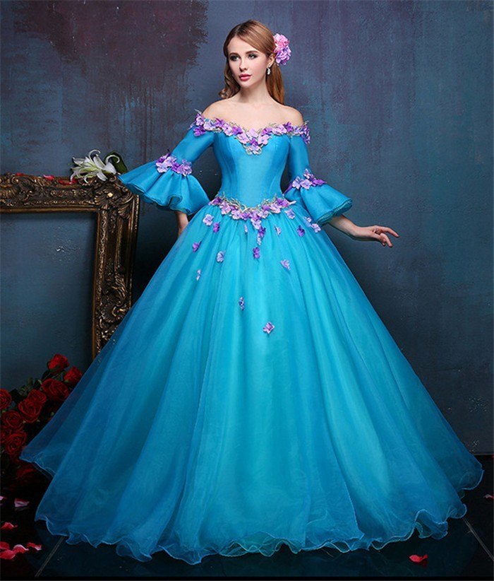 Tale Ball Gown Off The Shoulder Flare Sleeve Blue Organza
