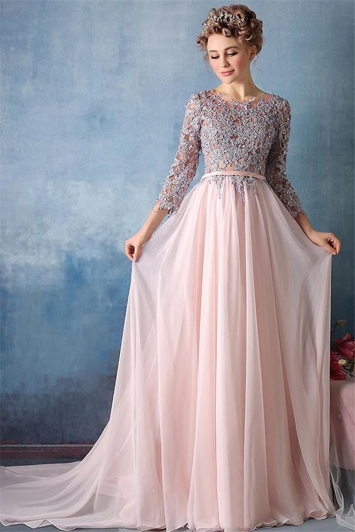 three quarter sleeve blush pink chiffon lace beaded