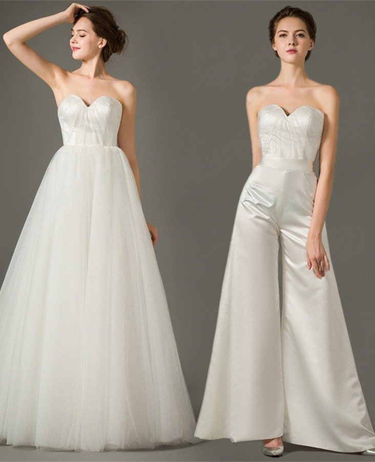Two In One Wedding Gowns: Unique Sweetheart Satin Tulle Two In One Wedding Jumpsuit