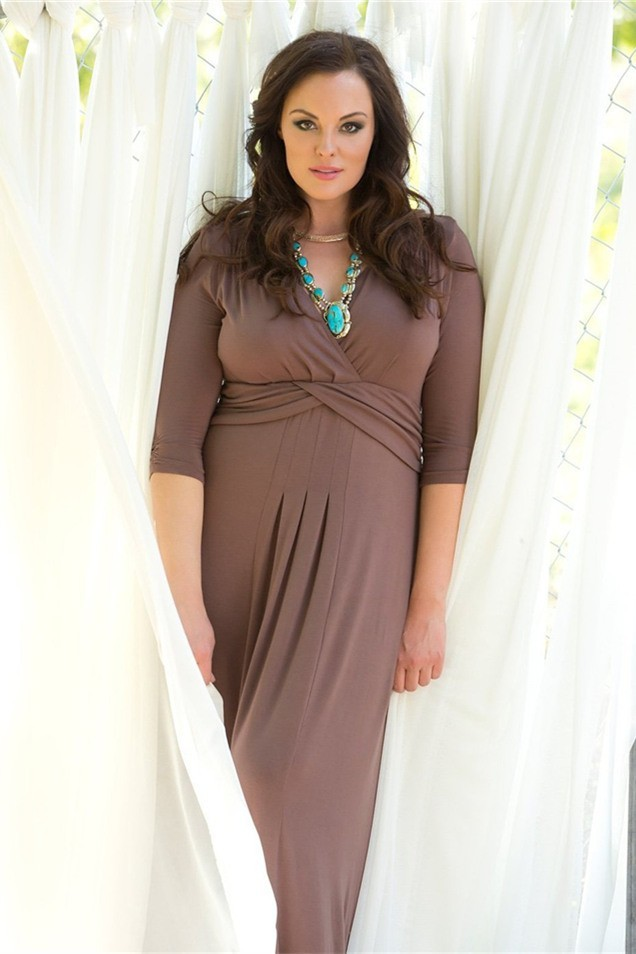 V Neck Empire Waist Plus Size Brown Dress With Sleeves