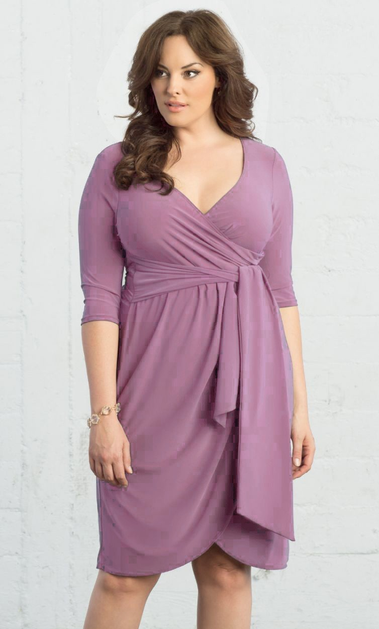 V Neck Short Dusty Rose Jersey Ruched Plus Size Dress With Sleeves Sash