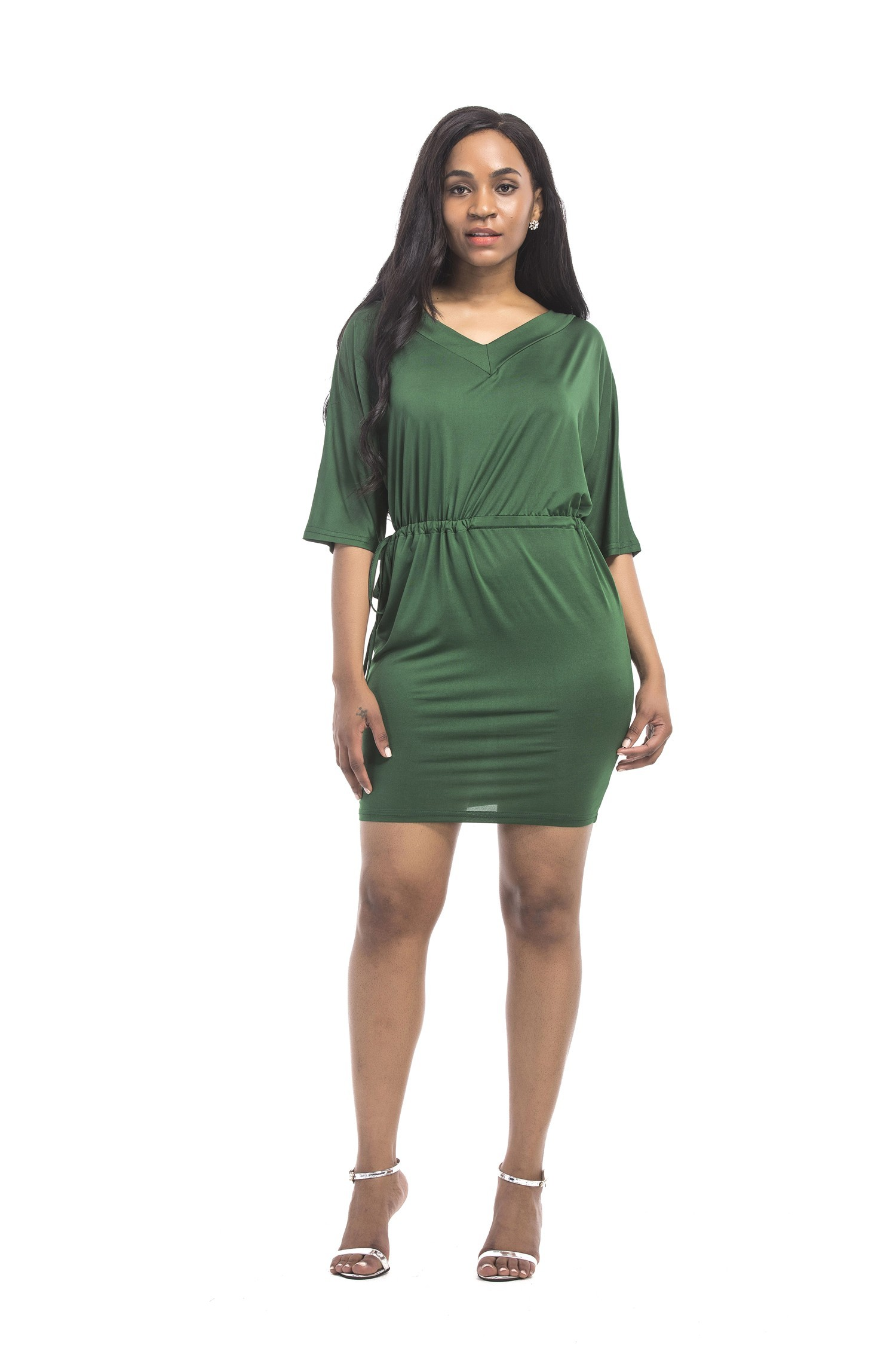 V Neck Short Mini Dark Green Jersey Plus Size Dress With Sleeves